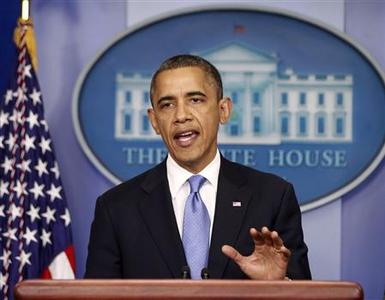 U.S. President Barack Obama delivers a statement on the Hurricane Sandy situation from the press briefing room of the White House in Washington, October 29, 2012. Obama suspended campaign stops on Monday and returned to Washington to monitor the impact of Hurricane Sandy, while Republican challenger Mitt Romney dropped some events as well to show respect to the storm's potential victims. REUTERS/Jason Reed
