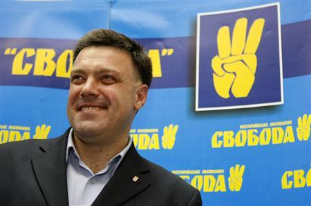 Oleg Tyagnibok, head of the All-Ukrainian Union Svoboda (Freedom) party, speaks during a news conference in Kiev October 30, 2012. An unexpectedly strong showing in the polls by Svoboda - which is based in the Ukrainian-speaking west, pursues a strongly Ukrainian nationalist agenda and opposes attempts by the Regions to promote the use of Russian language - bolstered the ranks of an opposition which has been weakened by Yulia Tymoshenko's jailing. REUTERS/Anatolii Stepanov