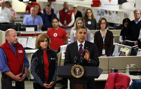 U.S. President Barack Obama speaks about damage done by Hurricane Sandy at the National Red Cross Headquarters in Washington, October 30, 2012. REUTERS/Larry Downing