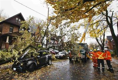 Sandy strikes in Canada too, far from storm's center
