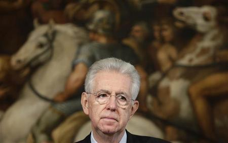 Italy's Prime Minister Mario Monti listens to reporter's question during a joint news conference with Austria's Chancellor Werner Faymann at the end of a meeting at Chigi Palace in Rome October 24, 2012. REUTERS/Tony Gentile