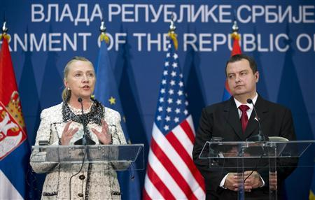 U.S. Secretary of State Hillary Clinton speaks next to Serbian Prime Minister Ivica Dacic during a news conference following meetings at the Palace of Serbia in Belgrade October 30, 2012. REUTERS/Saul Loeb/Pool