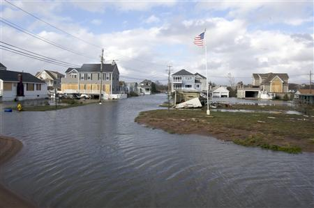 The Silver Sands neighborhood of East Haven, Connecticut remains flooded after Hurricane Sandy hit the area October 30, 2012. REUTERS/Michelle McLoughlin