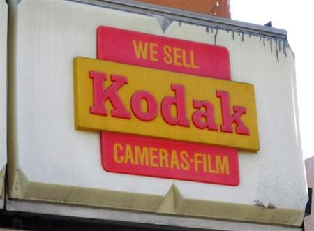 A Kodak sign for film and cameras is pictured on the now closed Morgan Camera Shop along Sunset Boulevard in Hollywood, California January 12, 2012. REUTERS/Fred Prouser/Files