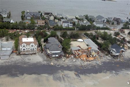 Aerial views shows the damage caused by Hurricane Sandy to the New Jersey coast taken during a search and rescue mission by 1-150 Assault Helicopter Battalion, New Jersey Army National Guard on October 30, 2012. REUTERS/Mark C. Olsen/U.S. Air Force/Handout