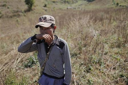 A local villager walks after assisting authorities to destroy a poppy field above the village of Tar-Pu in mountains of Shan State January 27, 2012. REUTERS/Damir Sagolj