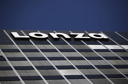 A logo of Swiss drug industry supplier Lonza is pictured in this file picture at the company's headquarters in Basel in this July 25, 2012 file photo. REUTERS/Michael Buholzer/Files