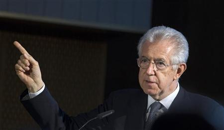 Italian Prime Minister Mario Monti speaks at the annual forum of the European School of Management and Technology (ESMT) in Berlin June 13, 2012. REUTERS/Thomas Peter
