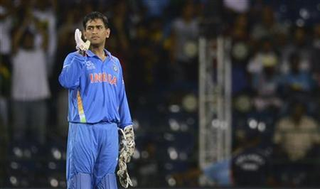 India's Mahendra Singh Dhoni looks on during the ICC World Twenty20 Super 8 cricket match against South Africa at the R Premadasa Stadium in Colombo October 2, 2012. REUTERS/Philip Brown