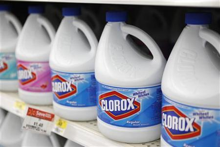 Bottles of Clorox bleach are displayed for sale on the shelves of a Wal-Mart store in Rogers, Arkansas June 4, 2009. REUTERS/Jessica Rinaldi