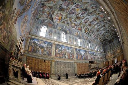 Pope Benedict XVI leads a special meeting with artists in the Sistine Chapel at the Vatican November 21, 2009. Pope Benedict meets up to 500 artists from around the world, as part of efforts to turn the page on the Vatican's sometimes conflicted relationship with the contemporary art world. Picture taken with fish-eye lens. REUTERS/Osservatore Romano