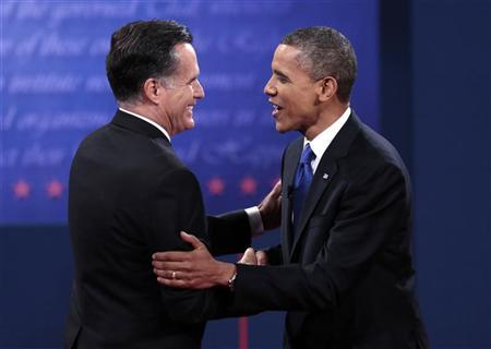 U.S. Republican presidential nominee Mitt Romney (L) and U.S. President Barack Obama shake hands at the conclusion of the final U.S. presidential debate in Boca Raton, Florida, October 22, 2012. REUTERS/Scott Audette