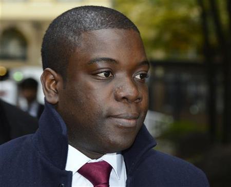 Former UBS trader Kweku Adoboli arrives at Southwark Crown Court in London October 26, 2012. REUTERS/Paul Hackett