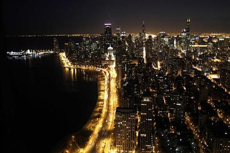 Lakeshore Drive in Chicago seen at night, October 30, 2010. REUTERS/Larry Downing