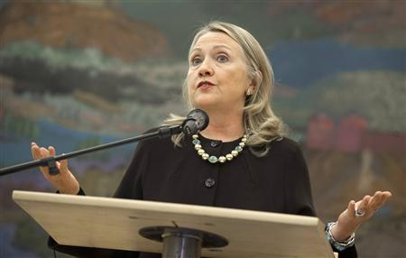 U.S. Secretary of State Hillary Clinton speaks during a news conference with the Croatian president after their meetings at the presidency in Zagreb October 31, 2012. REUTERS/Saul Loeb/Pool