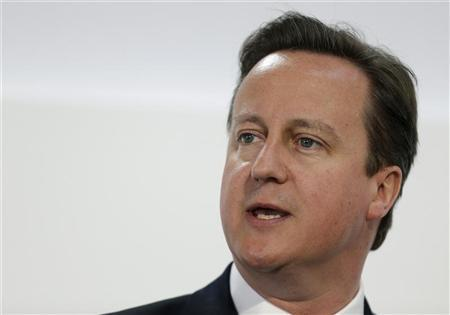 British Prime Minister David Cameron speaks at a business conference in London July 26, 2012. REUTERS/Alastair Grant/Pool