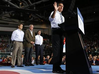 Republican presidential nominee Mitt Romney is joined at a campaign rally with (L-R) U.S. Senator Marco Rubio (R-FL), former Florida Governor Jeb Bush and U.S. Representative Connie Mack (R-FL) in Coral Gables, Florida October 31, 2012. REUTERS/Brian Snyder