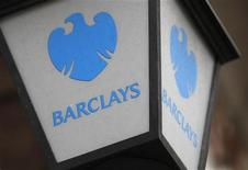 A lamp featuring a logo of Barclay's bank is seen outside a branch in London October 31, 2011. REUTERS/Suzanne Plunkett