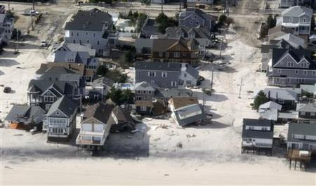 An aerial view of the storm damage over the Atlantic Coast is seen in the aftermath of Hurricane Sandy in Seaside Heights, New Jersey October 31, 2012. REUTERS/Doug Mills/Pool
