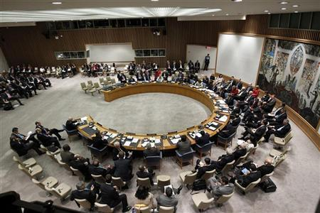 Delegates sit for a Security Council meeting to discuss Peace and Security in the Middle East during the 67th United Nations General Assembly at the U.N. Headquarters in New York, September 26, 2012. REUTERS/Keith Bedford