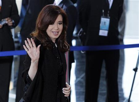 Argentine President Cristina Fernandez de Kirchner arrives at the inauguration ceremony of Latin American and Arab heads of states summit in Lima, October 2, 2012. REUTERS/Jorge Luis Baca