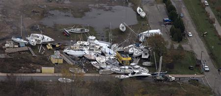 A view of boats from a marina which are washed ashore near Jersey City, New Jersey October 31, 2012. REUTERS/Adrees Latif