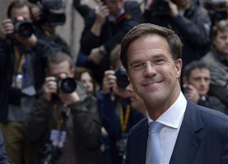 Netherlands' Prime Minister Mark Rutte arrives to attend an EU summit at the European Council headquarters in Brussels October 18, 2012. REUTERS/Eric Vidal