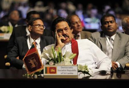 Sri Lanka's President Mahinda Rajapaksa attends the World Energy Forum during the first day of the programme at the Dubai World Trade Centre October 22, 2012. REUTERS/Jumana ElHeloueh