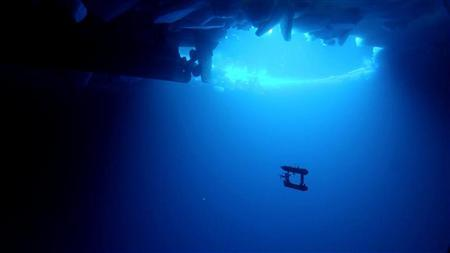 A free-swimming robot submarine, manoeuvres beneath sea ice in Eastern Antarctica in this undated handout picture made available on October 11, 2012. REUTERS/Australian Antarctic Division/Handout