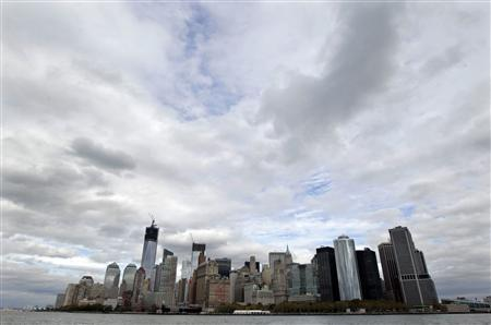 Lower Manhattan is seen from New York Harbor October 31, 2012. REUTERS/Brendan McDermid