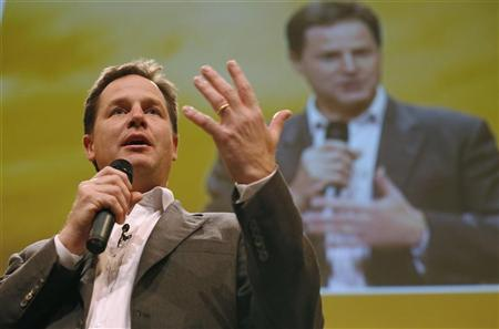 Britain's Deputy Prime Minister and leader of the Liberal Democrat Party Nick Clegg speaks during a question and answer session during the Liberal Democrats annual conference in Brighton, southern England September 23, 2012. REUTERS/Luke MacGregor