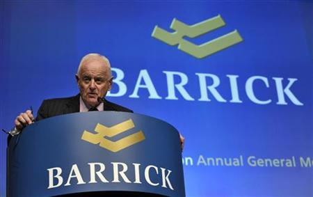 Barrick Gold Corporation Chairman Peter Munk speaks during the annual general meeting of shareholders in Toronto May 2, 2012. REUTERS/ Mike Cassese