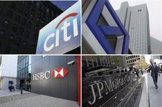 <p>Le Conseil de stabilité financière du G20 a classé Citigroup, Deutsche Bank, HSBC et JPMorgan Chase & Co en tête de la liste des 28 banques considérées comme d'importance systémiques à l'échelle mondiale. /Photos d'archives/REUTERS/Lucas Jackson/Ralph Orlowski/Nikhil Monteiro/Andrew Burton</p>