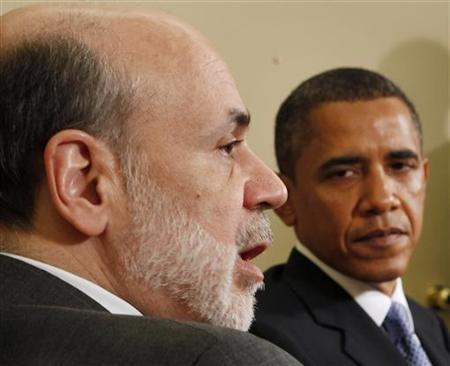 U.S. President Barack Obama meets with Chairman of the Federal Reserve Ben Bernanke in the Oval Office of the White House in Washington, in this June 29, 2010 file photo. Bernanke has told close friends he probably will not stand for a third term at the central bank even if President Obama wins the November 6 election, the New York Times reported on October 23, 2012. REUTERS/Larry Downing/Files (UNITED STATES - Tags: POLITICS BUSINESS)