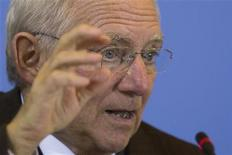 German Finance Minister Wolfgang Schaeuble speaks during a news conference about the federal tax assessment for 2012 at the finance ministry in Berlin, October 31, 2012. REUTERS/Thomas Peter