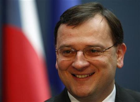 Czech Republic's Prime Minister Petr Necas smiles during an interview with Reuters at government headquarters in Prague March 18, 2011. REUTERS/David W Cerny
