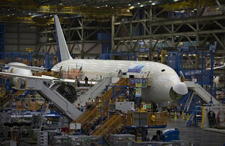 A Boeing 787 sits on the assembly line at the company's operations in Everett, Washington, October 18, 2012. REUTERS/Andy Clark