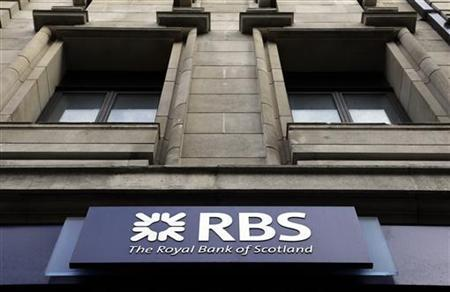 A logo of an Royal Bank of Scotland (RBS) is seen at a branch in London February 23, 2012. State-owned Royal Bank of Scotland paid out nearly a billion pounds in bonuses to staff for last year despite posting a fourth-quarter loss of nearly 2 billion pounds ($3.1 billion) after big losses in Greece and Ireland and costly restructuring. REUTERS/Stefan Wermuth (BRITAIN - Tags: BUSINESS EMPLOYMENT)
