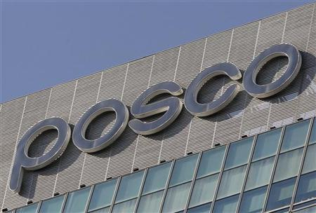 A logo of POSCO is seen at the company's headquarters in Seoul October 21, 2011. REUTERS/Jo Yong-Hak