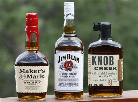 File photo of three bourbon whiskeys,(L-R) Maker's Mark, Jim Beam and Knob Creek, are displayed in Golden, Colorado July 24, 2008. REUTERS/Rick Wilking
