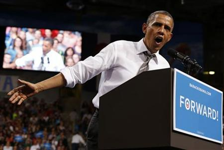 U.S. President Barack Obama addresses the crowd at a campaign event at the University of Colorado Boulder, November 1, 2012. REUTERS/Larry Downing (UNITED STATES - Tags: POLITICS ELECTIONS USA PRESIDENTIAL ELECTION)