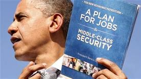 U.S. President Barack Obama holds up his plan for jobs during a campaign rally in Delray, Florida October 23, 2012. REUTERS/Kevin Lamarque (UNITED STATES - Tags: POLITICS ELECTIONS USA PRESIDENTIAL ELECTION)