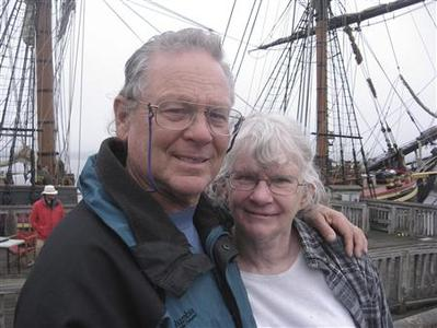 Capt Robin Walbridge with his sister Lucille Jansen in front of HMS Bounty,at Fall River, Massachusetts is seen in this May 2010 handout photo courtesy of the Walbridge family and supplied to Reuters November 2, 2012. REUTERS/Walbridge Family/Handout