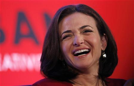 Facebook Chief Operating Officer Sheryl Sandberg laughs at the Iab Mixx Conference and Expo in New York October 2, 2012. REUTERS/Mike Segar