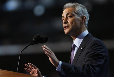 Chicago Mayor and former Obama administration official Rahm Emanuel addresses the first session of the Democratic National Convention in Charlotte, North Carolina, September 4, 2012. REUTERS/Jessica Rinaldi