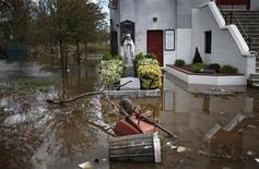 Flood waters left by storm surge from Hurricane Sandy surround Our Lady of Lourdes Church on the south side of hard-hit Staten Island in New York City following Hurricane Sandy, November 2, 2012. REUTERS/Mike Segar