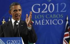 La crisis de Europa continúa siendo el mayor obstáculo para la recuperación económica global y acaparará la atención en la reunión de jefes de Finanzas de las potencias mundiales el fin de semana en México, dijo el viernes un alto cargo del Tesoro de Estados Unidos. Imagen del presidente de EEUU, Barack Obama, en una rueda de prensa al final de la cumbre del G-20 celebrada el pasado mes de junio en la localidad mexicana de Los Cabos. REUTERS/Jason Reed