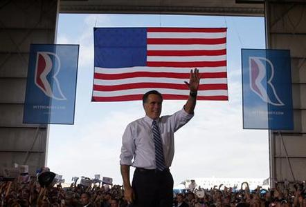 Republican presidential nominee Mitt Romney waves to the crowd at a campaign rally in Colorado Springs, Colorado November 3, 2012. REUTERS/Brian Snyder