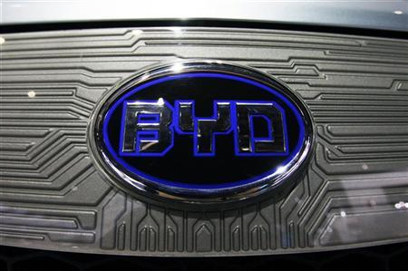 A BYD (Build Your Dreams) logo is seen on the front of an e6 electric vehicle during the press days for the North American International Auto show in Detroit, Michigan, January 11, 2011. REUTERS/Mark Blinch