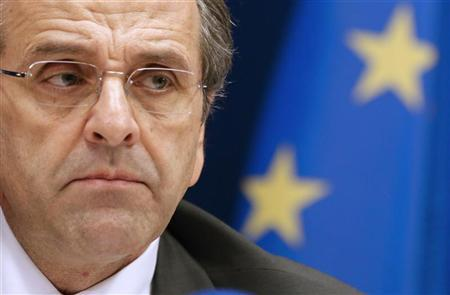 Greece's Prime Minister Antonis Samaras attends a news conference at the end of the second session of a two-day European Union leaders summit in Brussels October 19, 2012. REUTERS/Christian Hartmann